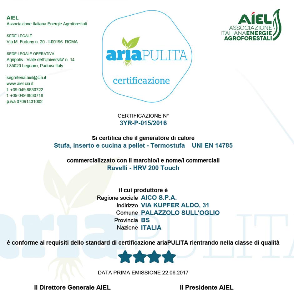 Certificazione aria pulita Ravelli HRV 200 touch