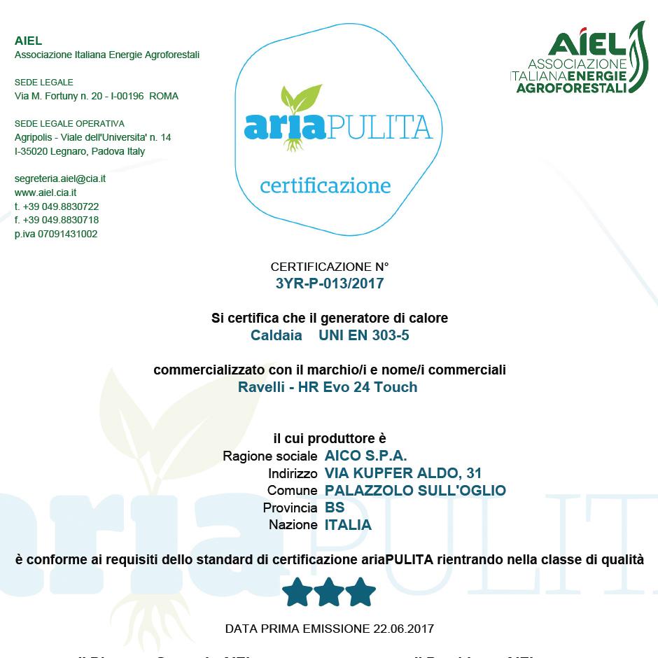 Certificazione aria pulita Ravelli Hr Evo 24 Touch