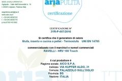 Certificazione aria pulita HRV 100 Touch