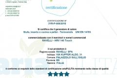 Certificazione aria pulita HRV 140 touch